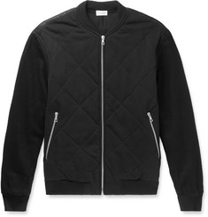 Dries Van Noten Quilted Jersey, Felt and Printed Satin Bomber Jacket