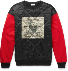 Dries Van Noten Quilted Printed Satin, Jersey and Felt Sweatshirt