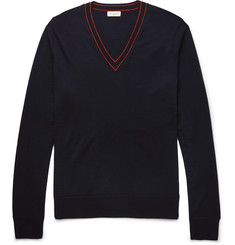 Dries Van Noten Contrast-Tipped Merino Wool Sweater
