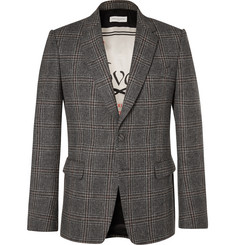 Dries Van Noten Grey Slim-Fit Checked Wool-Tweed Blazer