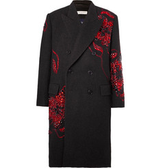 Dries Van Noten Double-Breasted Embellished Wool Coat