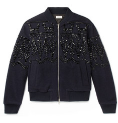 Dries Van Noten Volker Embellished Boiled Wool-Blend Bomber Jacket