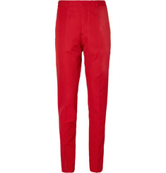 Dries Van Noten Red Slim-Fit Wool-Twill Suit Trousers
