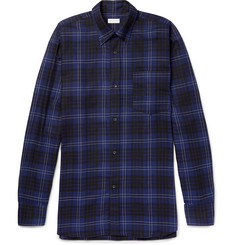 Dries Van Noten Oversized Button-Down Collar Checked Cotton Shirt