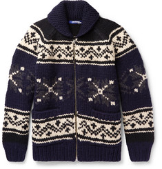 Junya Watanabe Jacquard-Knit Wool Zip-Up Sweater