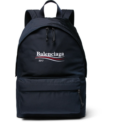 Explorer Embroidered Canvas Backpack - Navy