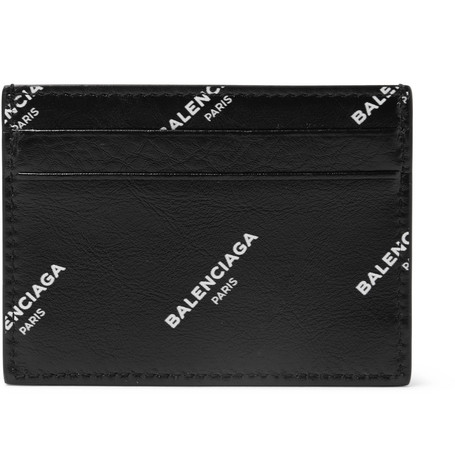 Balenciaga Printed Leather Cardholder In Black