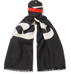 Balenciaga Fringed Printed Silk and Wool-Blend Jacquard Scarf