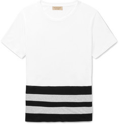 Burberry - Slim-Fit Stripe-Panelled Cotton-Jersey T-Shirt