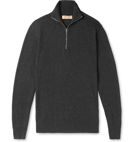 Burberry Cashmere And Cotton-Blend Half-Zip Sweater In Gray