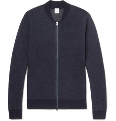 Aspesi Mélange Wool Zip-Up Sweater