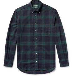 Gitman Vintage Button-Down Collar Black Watch Checked Brushed-Cotton Flannel Shirt
