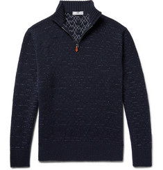Inis Meáin - Birdseye Slim-Fit Merino Wool and Linen-Blend Half-Zip Sweater