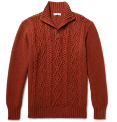 Inis Meáin Cable-Knit Mélange Merino Wool Sweater