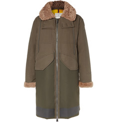 Moncler Garcia Shearling-Trimmed Cotton-Twill and Wool-Blend Hooded Down Parka