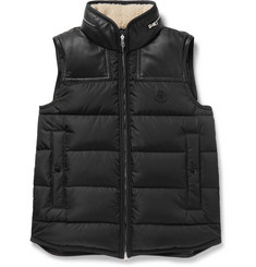 Moncler Millais Leather-Trimmed Quilted Shell Down Jacket