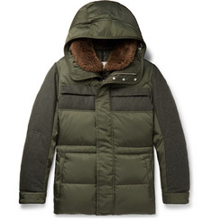 Moncler - Shearling-Trimmed Quilted Shell and Wool-Flannel Down Parka