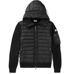 Moncler - Maglione Wool-Blend and Quilted Shell Hooded Down Jacket