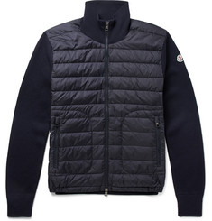 Moncler - Slim-Fit Panelled Wool-Blend and Quilted Shell Down Jacket