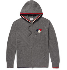 Moncler Appliquéd Virgin Wool Zip-Up Hoodie