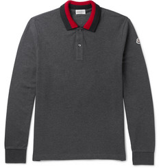Moncler Stripe-Trimmed Cotton-Piqué Polo Shirt