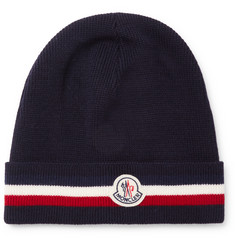 Moncler Striped Virgin Wool Beanie