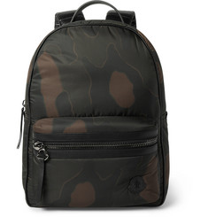 Moncler New George Leather-Trimmed Camouflage-Print Shell Backpack