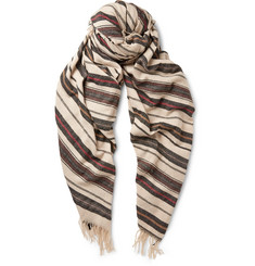 Dries Van Noten Oversized Striped Cashmere-Blend Scarf