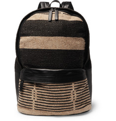 Dries Van Noten Leather and Intarsia-Knit Backpack