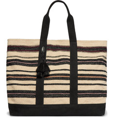 Dries Van Noten Tasselled Striped Canvas Tote Bag