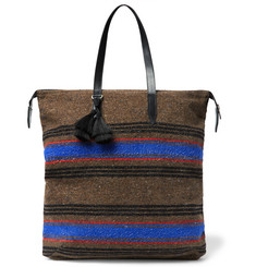 Dries Van Noten - Leather-Trimmed Striped Wool-Blend Tote Bag