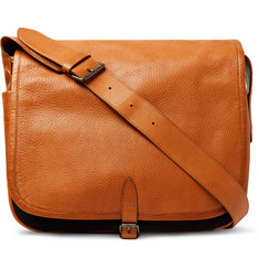 Dries Van Noten Full-Grain Leather and Canvas Messenger Bag