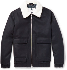 NN07 - Seton Faux Shearling-Trimmed Wool-Blend Bomber Jacket