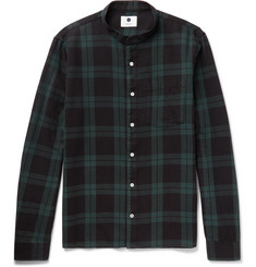 NN07 - Gustav Grandad-Collar Checked Cotton-Flannel Shirt