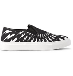 Neil Barrett Printed Canvas Slip-On Sneakers
