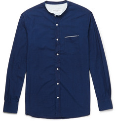 Officine Generale Gaspard Grandad-Collar Selvedge-Trimmed Cotton Shirt