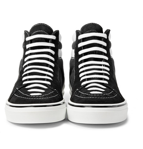 George V Suede And Cotton-canvas High-top Sneakers - Black