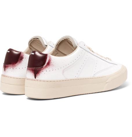 MAISON MARTIN MARGIELA Maison Margiela - Spray-Painted Leather Sneakers - White