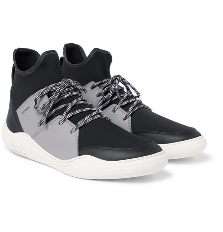 Neoprene And Leather High-top Sneakers - Black