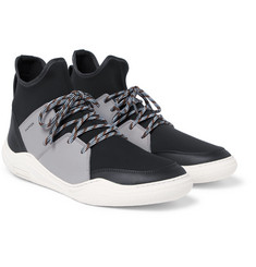 Lanvin - Neoprene and Leather High-Top Sneakers