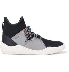 Lanvin Neoprene and Leather High-Top Sneakers
