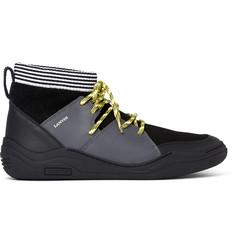 Lanvin Stretch-Knit and Leather High-Top Sneakers