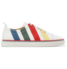 Thom Browne Striped Pebble-Grain Leather Sneakers
