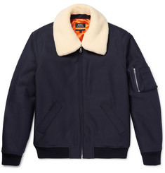 A.P.C. - Manchester Faux Shearling-Trimmed Cotton-Blend Twill Bomber Jacket
