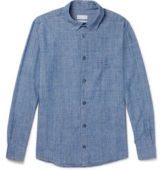 A.P.C. Chemise 87 Embroidered Cotton-Chambray Shirt