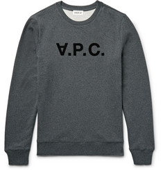 A.P.C. Appliquéd Fleece-Back Cotton-Jersey Sweatshirt