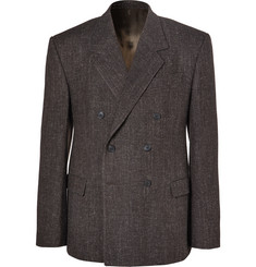 Balenciaga Brown Double-Breasted Wool-Blend Tweed Blazer