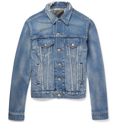 Balenciaga Trucker Slim-Fit Embroidered Distressed Denim Jacket
