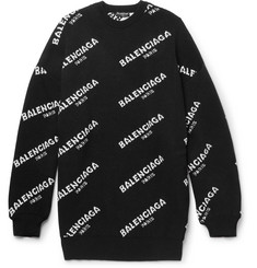 Balenciaga Oversized Intarsia Wool-Blend Sweater