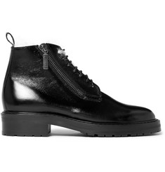 Saint Laurent William Shearling-Lined Textured-Leather Boots